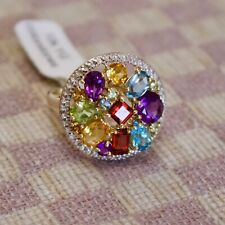 NEW LARGE 10K YELLOW GOLD FIVE CARAT MULTI-COLORED GEMSTONE CIRCLE RING (size 8)