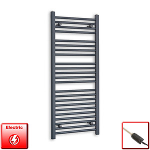 500mm Wide 1200mm High Flat Anthracite Pre-Filled Electric Towel Rail Radiator