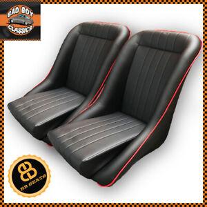 Pair CLASSIC BB1 RED Piping Clubman Bucket Seats CLASSIC CAR / HOT ROD / KIT car