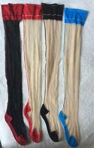 Women Girl 1D High Stockings Wide Border Thigh Cuban Heel Back Seam Hosiery Club