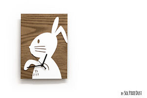 Cute Bunny - Wooden and Acrylic Wall Clock - Kids Nursery Room - Teens Room
