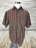 The Territory Ahead Men's Large Short Sleeve Textured Abstract Plaid Shirt