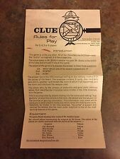 1963 Clue Board Game Replacement Pieces Parts ~ INSTRUCTIONS paper