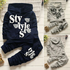 2PC Toddler Baby Boy Letter Long Sleeve Cotton Hooded Tops Shirts Pants Outfits