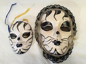 Kitty Cat Face Mask Theater Mardi Gras Masquerade Decor Wall Art Ceramic 2 pcs