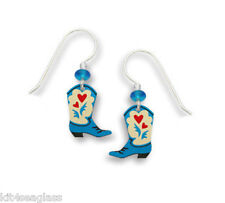 Sienna Sky Blue COWGIRL BOOTS w Red Hearts EARRINGS Sterling Silver Dangle - Box