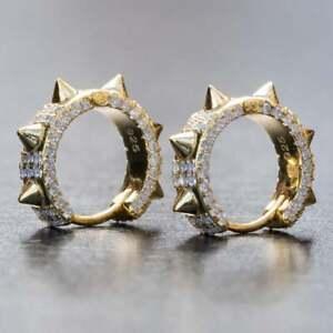 Men's Fashion 18K Gold Filled Rivet Earrings Wedding Jewelry Zircon A Pair/set