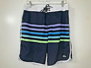 "QUIKSILVER Men's Striped 19""  Swim Surf Board Shorts BoardShorts Size 30 ~EUC"