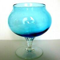 VINTAGE BLUE ART GLASS FOOTED BOWL, TWISTED STEM