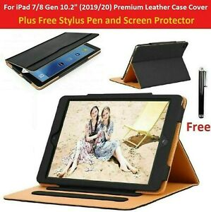 """For iPad 10.2"""" 7th Gen 2019 Premium Leather Tablet Folio Case Stand Cover"""