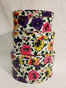 *Set of 3* Pansies Oval Nesting Gift Boxes