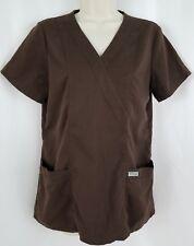 Grey's Anatomy Women's Scrub Top Size Small Mock Wrap Style 41101 Brown