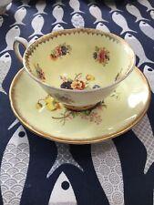 Royal Grafton Single bone china tea cup and saucer Yellow Flowered Pattern