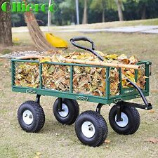 Utility Wagon Heavy-Duty Steel Garden Cart Dump Lawn Wheelbarrow Trailer Steel