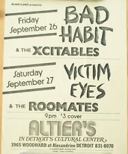 Vintage punk rock flier Bad Habit & The Xcitables - Altier's  Detroit
