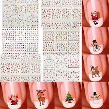 12 Sheet Christmas 3D Nail Art Stickers Snowflakes & Cute Snowmen Nail Decal DIY