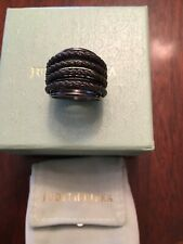 JUDITH RIPKA STERLING SILVER TWISTED ROPE MULTI-ROPE SIZE 8 BLACK NWT