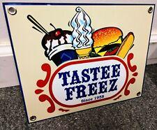 Tastee Freez ice cream burgers restaurant fast food sign