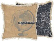 """WE HAVE NOTHING TO LOSE... Canvas GLOBE Pillow, 15"""" x 15"""", Primitives by Kathy"""