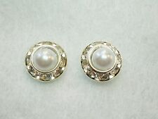 Charming White Faux Pearl & Clear Crystal Silver Tone Stud Earrings Butterfly