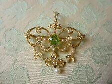 Antique 14k Gold Peridot seed pearls Pendant , Brooch