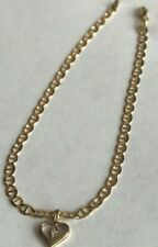 14k Yellow gold Cuban link Ankle Bracelet Fine  Anklet Heart Charm 10 inches