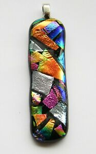 Genuine Large Hand Crafted Dichroic Glass Pendant - Mosaic #15