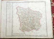 Dépt 58 - Carte Originale de 1790 - Gravure sur Cuivre Aquarellée 73 x 56 cm
