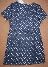 NEW! Sz 16 Navy & White spot spotty Short sleeve textured skater dress Nautical