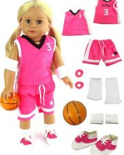 7 Piece Pink Basketball Outfit w/Ball & Shoes Fits American Girl Dolls Nanea!