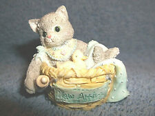 "Enesco Calico Kittens Mini Figurine "" New Arrival "" Prescilla Hillman 1995 - Exl"