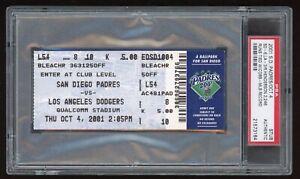 Rickey Henderson Sets MLB All Time Runs Record 2246 2001 Padres Ticket Stub PSA