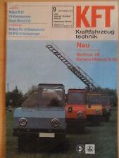 KFT KRAFTFAHRZEUGTECHNIK 9/1974 3* Multicar 24 Simson Mokick S 50 QEK Junior