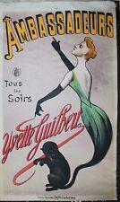 Ambassadeurs Yvette Guilbert Tous les soirs Original antique Poster good conditi