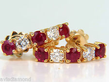 █$4400 2.48CT NATURAL ROUNDS FINE GEM RED RUBY DIAMOND EARRINGS SEMI HOOP 14KT █