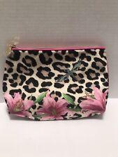 """New! Estee Lauder Cosmetic Zipper Fuzzy Makeup Bags 9.5"""" x 7"""", Leopard Garden"""