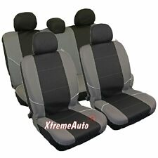 UNIVERSAL CAR SEAT COVER SET (8 Pieces) Black/Grey Washable & Airbag Compatible
