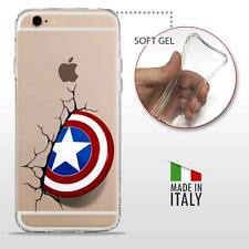 iPhone 6 6S TPU CASE COVER GEL PROTETTIVA TRASPARENTE DC MARVEL Captain America
