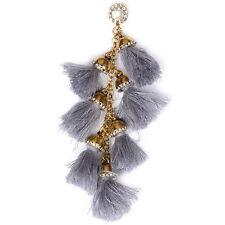 Bohemian Long Gold Tassel Fringe Drop Dangle Grey Fashion Earrings 034