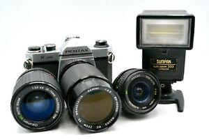 Pentax K1000 Deluxe Camera Kit + telephoto zoom lens + 28mm + flash + bonus lens