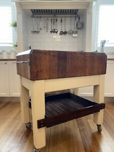 Butchers Block, Hardwood Top, on Wheels, Very Old and Heavy. Great Condition.
