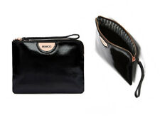 Mimco echo black medium patent leather pouch rose gold hardware