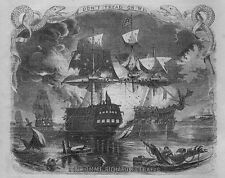 NAUTICAL SEAFIGHT THE BON HOMME RICHARD AND SERAPIS VESSELS IN FLAMES SERPENT