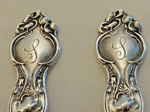"""TWO WALLACE """"VIOLET"""" STERLING DEMITASSE SPOONS, HAND ENGRAVED """"S"""" ON THE HANDLES"""