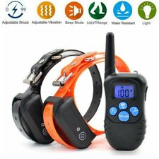 900ft Electric Dog Shock Training Collar Waterproof IP67 Rechargeable for 2 Dogs