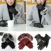 Women Touch Screen Gloves Fur Leather Winter Warm Fleece Lined Thermal Mittens