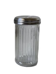 Retro Sugar Shaker - Glass Dispenser & Stainless Steel Lid with Pour Flap 12 oz