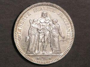 FRANCE 1873A 5 Francs Hercules Silver Crown AU-Unc