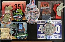 Virtual Race medals with Heros! Lot of 8 metals and 5 Race Bibs.