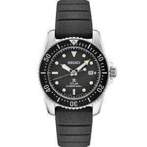New Seiko Solar Diver Street 1975 Series Black Strap Men's Watch SNE573